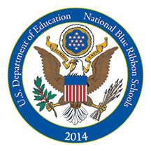 2014 National Blue Ribbon Schools Program Logo - Milton students learning in our outdoor classroom.